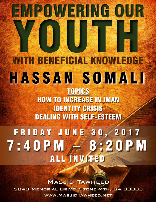 Masjid Tawheed - Empowering Our Youth - Hasan Somali Flyer1